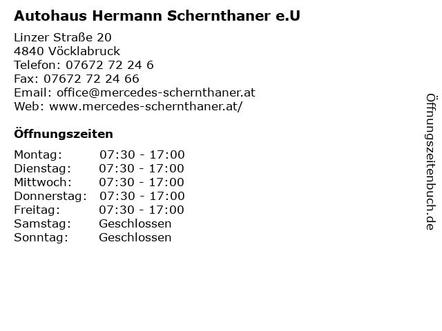 Autohaus Hermann Schernthaner e.U in Vöcklabruck: Adresse und Öffnungszeiten