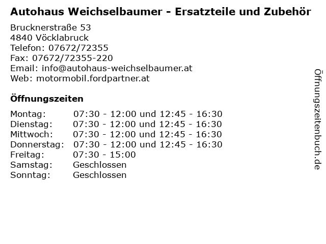 Autohaus Weichselbaumer - Ersatzteile und Zubehör in Vöcklabruck: Adresse und Öffnungszeiten