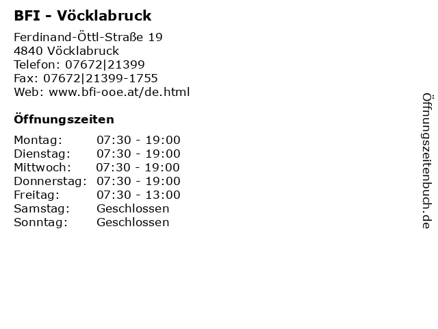 BFI - Vöcklabruck in Vöcklabruck: Adresse und Öffnungszeiten