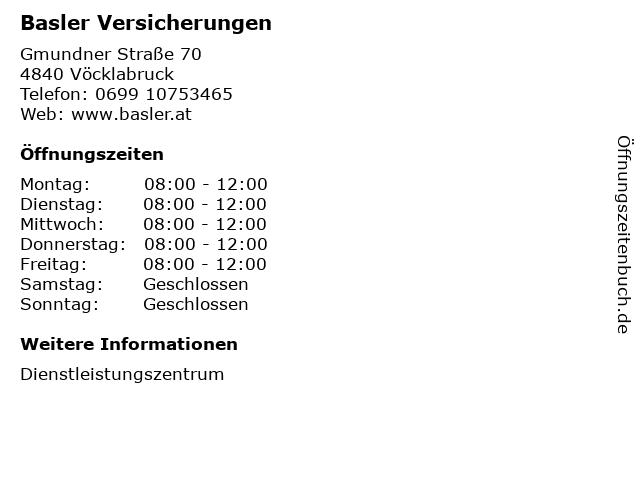 Basler Versicherungen in Vöcklabruck: Adresse und Öffnungszeiten
