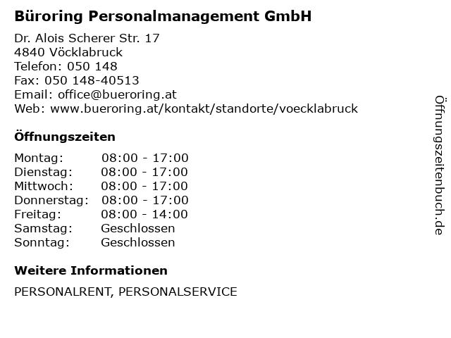 Büroring Personalmanagement GmbH in Vöcklabruck: Adresse und Öffnungszeiten