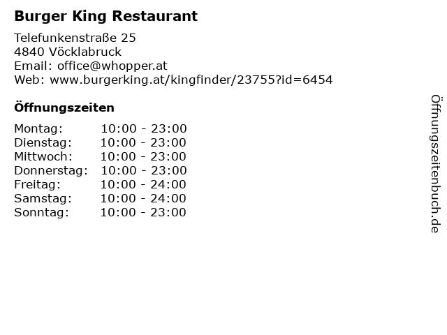 Burger King Restaurant in Vöcklabruck: Adresse und Öffnungszeiten