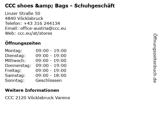 CCC shoes & Bags - Schuhgeschäft in Vöcklabruck: Adresse und Öffnungszeiten
