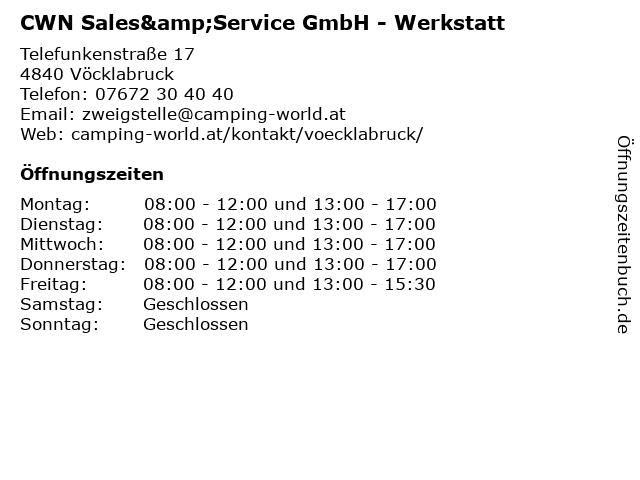 CWN Sales&Service GmbH - Werkstatt in Vöcklabruck: Adresse und Öffnungszeiten