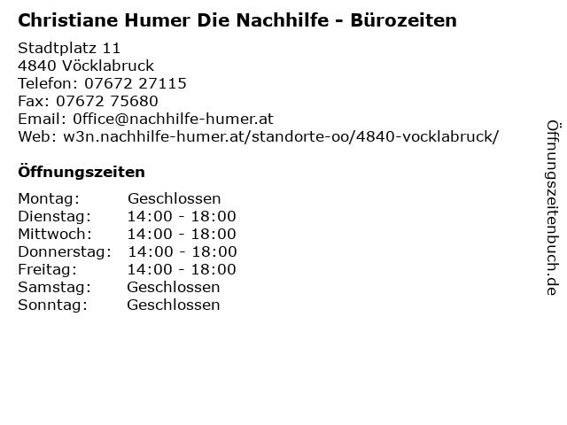 Christiane Humer Die Nachhilfe - Bürozeiten in Vöcklabruck: Adresse und Öffnungszeiten