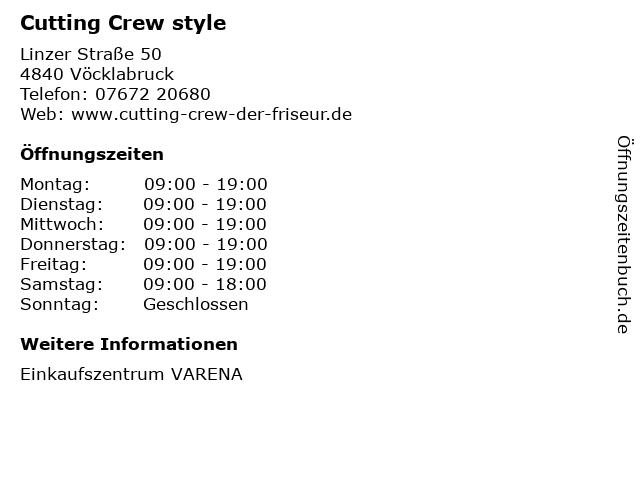 Cutting Crew style in Vöcklabruck: Adresse und Öffnungszeiten