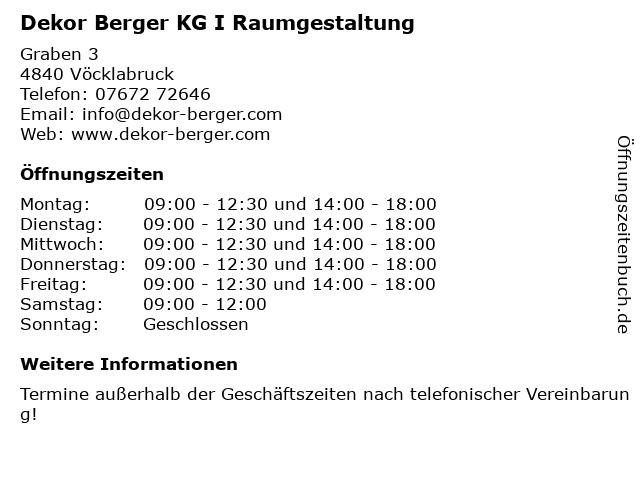 Dekor Berger KG I Raumgestaltung in Vöcklabruck: Adresse und Öffnungszeiten