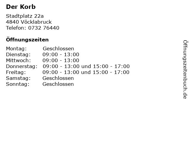 Der Korb in Vöcklabruck: Adresse und Öffnungszeiten