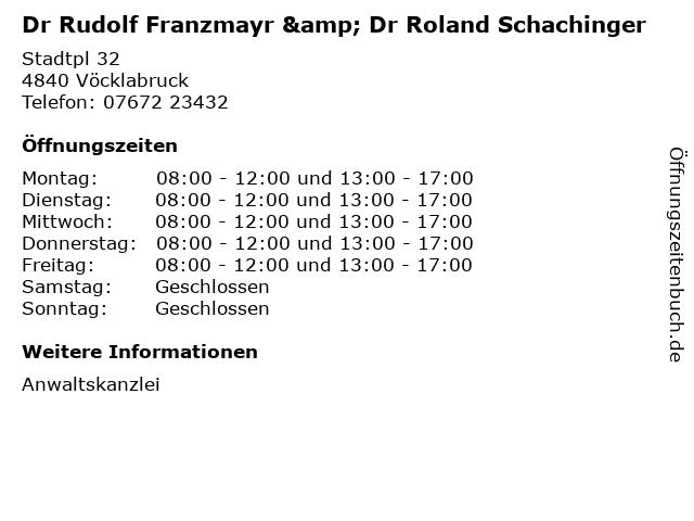 Dr Rudolf Franzmayr & Dr Roland Schachinger in Vöcklabruck: Adresse und Öffnungszeiten