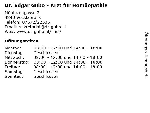 Dr. Edgar Gubo - Arzt für Homöopathie in Vöcklabruck: Adresse und Öffnungszeiten