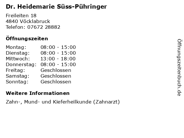 Dr. Heidemarie Süss-Pühringer in Vöcklabruck: Adresse und Öffnungszeiten