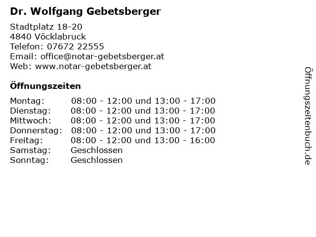 Dr. Wolfgang Gebetsberger in Vöcklabruck: Adresse und Öffnungszeiten