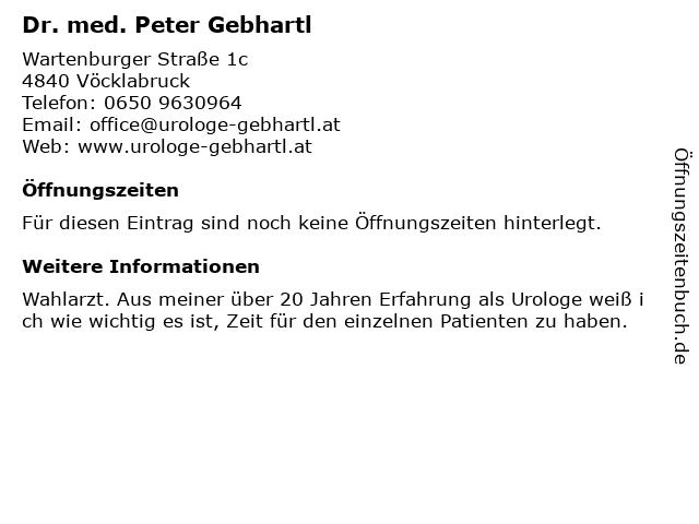 Dr. med. Peter Gebhartl in Vöcklabruck: Adresse und Öffnungszeiten