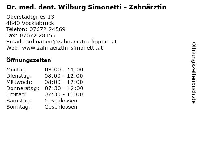 Dr. med. dent. Wilburg Simonetti - Zahnärztin in Vöcklabruck: Adresse und Öffnungszeiten