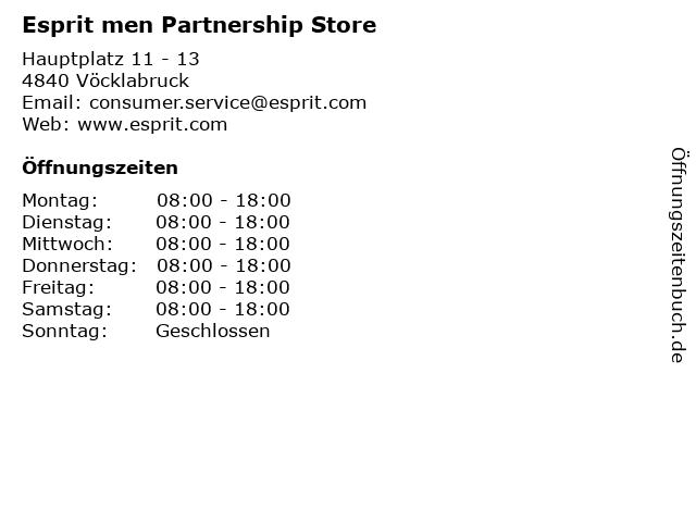 Esprit men Partnership Store in Vöcklabruck: Adresse und Öffnungszeiten