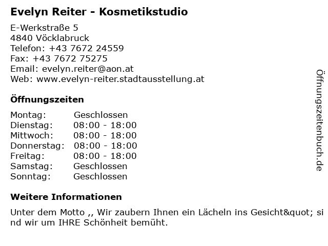 Evelyn Reiter - Kosmetikstudio in Vöcklabruck: Adresse und Öffnungszeiten