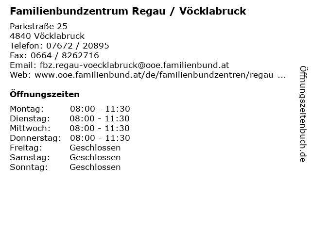 Familienbundzentrum Regau / Vöcklabruck in Vöcklabruck: Adresse und Öffnungszeiten