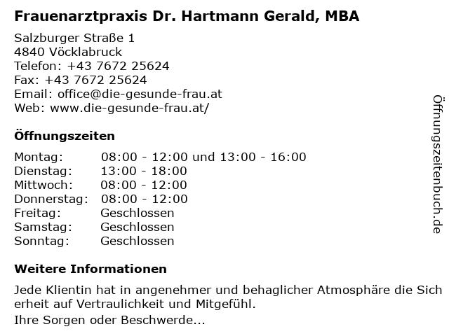Frauenarztpraxis Dr. Hartmann Gerald, MBA in Vöcklabruck: Adresse und Öffnungszeiten