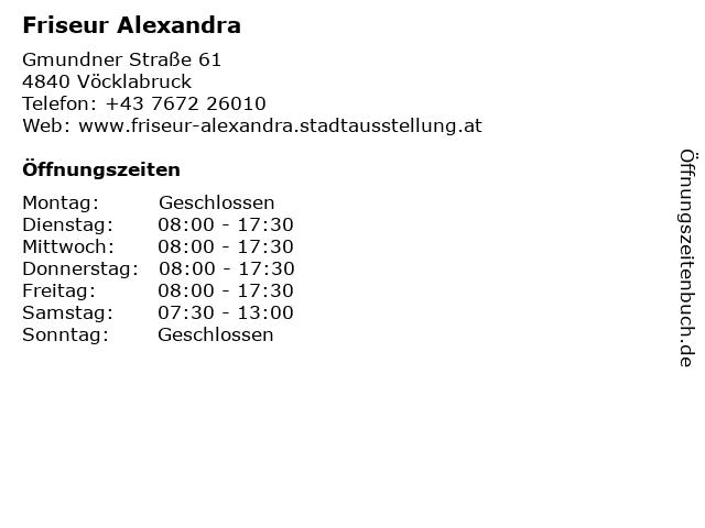 Friseur Alexandra in Vöcklabruck: Adresse und Öffnungszeiten