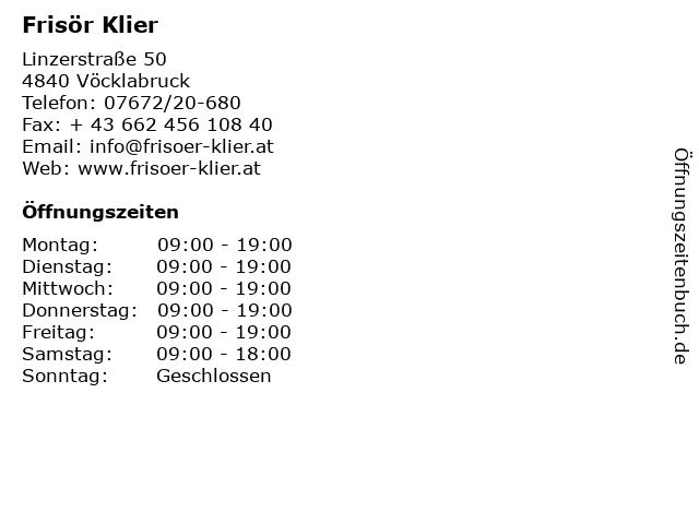 Frisör Klier in Vöcklabruck: Adresse und Öffnungszeiten