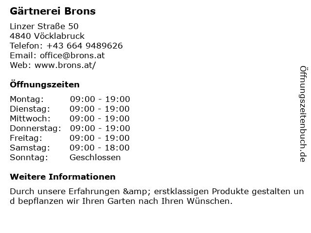 Gärnterei Brons in Vöcklabruck: Adresse und Öffnungszeiten
