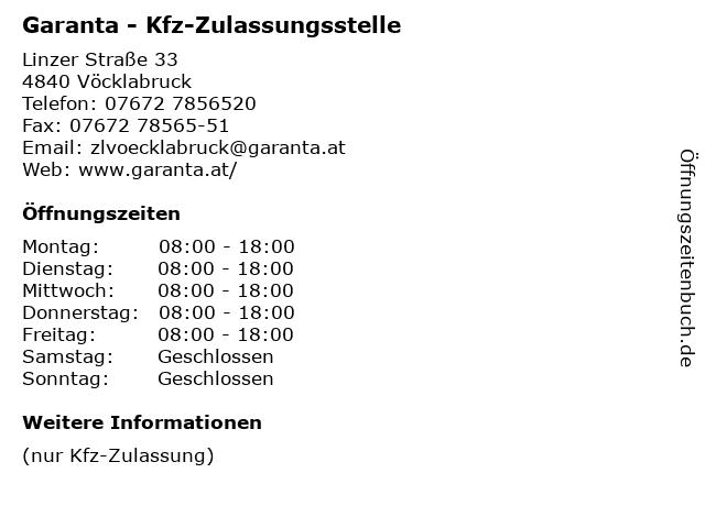 Garanta - Kfz-Zulassungsstelle in Vöcklabruck: Adresse und Öffnungszeiten