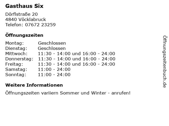 Gasthaus Six in Vöcklabruck: Adresse und Öffnungszeiten