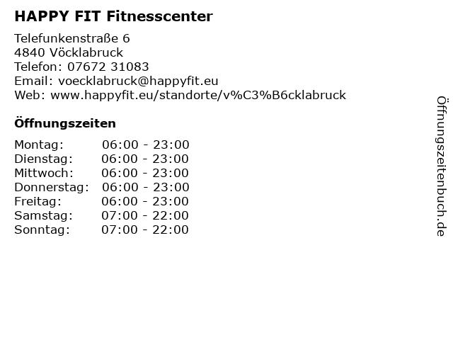 HAPPY FIT Fitnesscenter in Vöcklabruck: Adresse und Öffnungszeiten