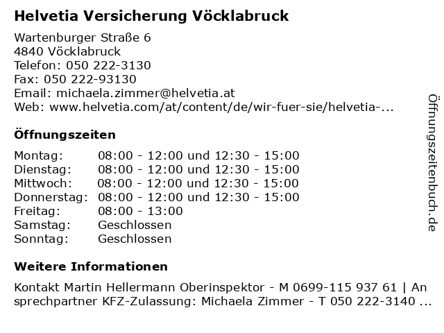 Helvetia Versicherung Vöcklabruck in Vöcklabruck: Adresse und Öffnungszeiten