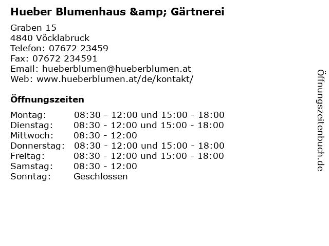 Hueber Blumenhaus & Gärtnerei in Vöcklabruck: Adresse und Öffnungszeiten