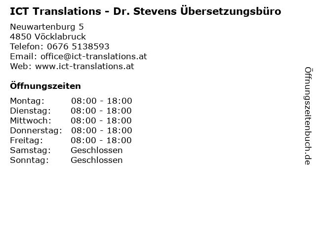 ICT Translations - Dr. Stevens Übersetzungsbüro in Vöcklabruck: Adresse und Öffnungszeiten