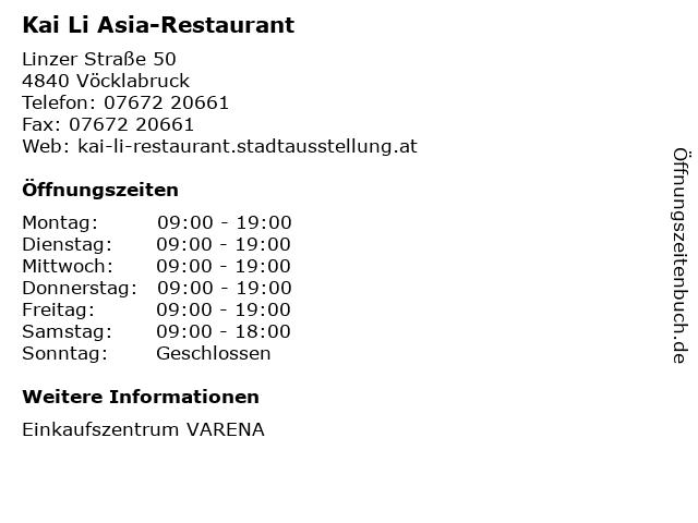 Kai Li Asia-Restaurant in Vöcklabruck: Adresse und Öffnungszeiten