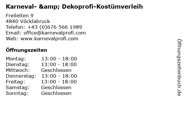 Karneval- & Dekoprofi-Kostümverleih in Vöcklabruck: Adresse und Öffnungszeiten
