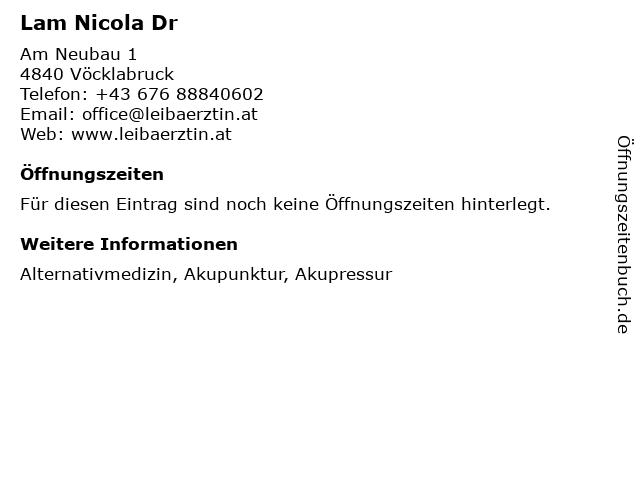Lam Nicola Dr in Vöcklabruck: Adresse und Öffnungszeiten