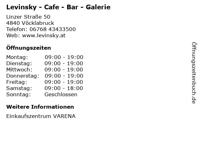 Levinsky - Cafe - Bar - Galerie in Vöcklabruck: Adresse und Öffnungszeiten