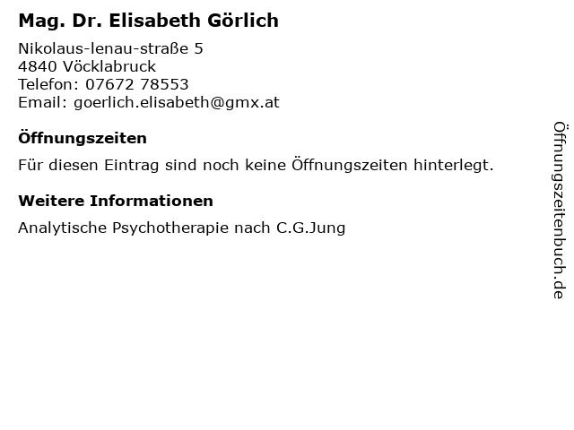 Mag. Dr. Elisabeth Görlich in Vöcklabruck: Adresse und Öffnungszeiten