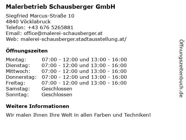 Malerbetrieb Schausberger GmbH in Vöcklabruck: Adresse und Öffnungszeiten