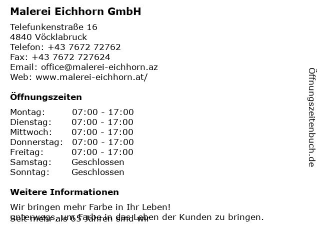 Malerei Eichhorn GmbH in Vöcklabruck: Adresse und Öffnungszeiten