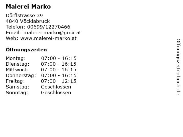 Malerei Marko in Vöcklabruck: Adresse und Öffnungszeiten