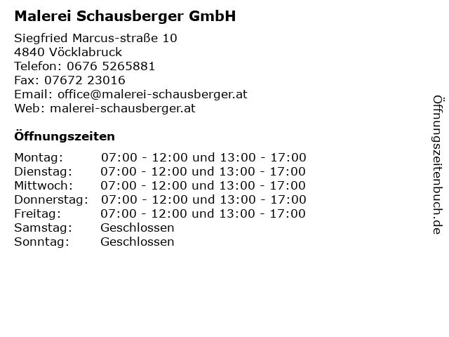 Malerei Schausberger GmbH in Vöcklabruck: Adresse und Öffnungszeiten