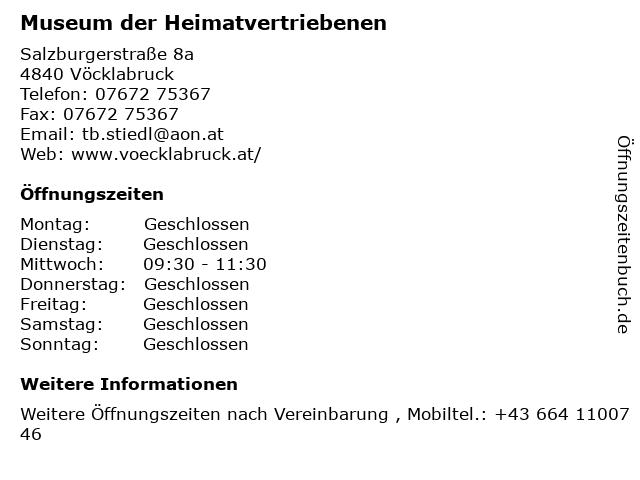 Museum der Heimatvertriebenen in Vöcklabruck: Adresse und Öffnungszeiten