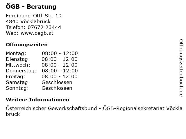 ÖGB - Beratung in Vöcklabruck: Adresse und Öffnungszeiten