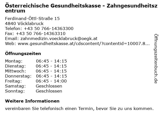 Österreichische Gesundheitskasse - Zahngesundheitszentrum in Vöcklabruck: Adresse und Öffnungszeiten