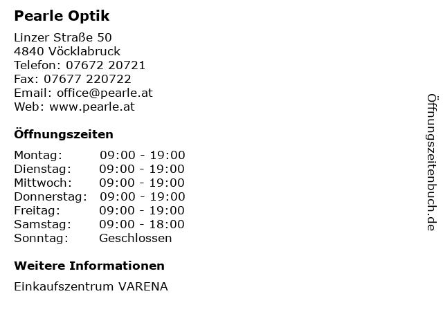 Pearle Optik in Vöcklabruck: Adresse und Öffnungszeiten