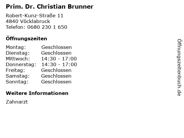 Prim. Dr. Christian Brunner in Vöcklabruck: Adresse und Öffnungszeiten