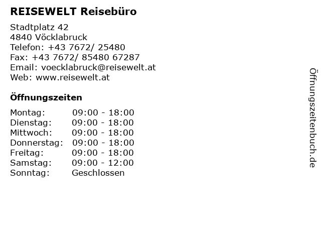 REISEWELT Reisebüro in Vöcklabruck: Adresse und Öffnungszeiten