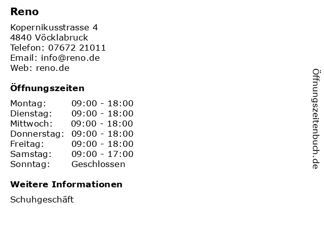 Reno in Vöcklabruck: Adresse und Öffnungszeiten