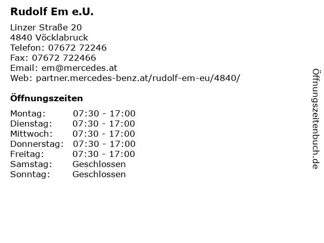Rudolf Em e.U. in Vöcklabruck: Adresse und Öffnungszeiten