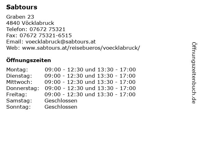Sabtours in Vöcklabruck: Adresse und Öffnungszeiten