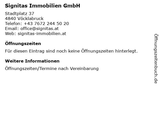 Signitas Immobilien GmbH in Vöcklabruck: Adresse und Öffnungszeiten